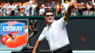 The pose was pure Jim Palmer. The ceremony to unveil his sculpture, as you might expect, was pitch perfect.