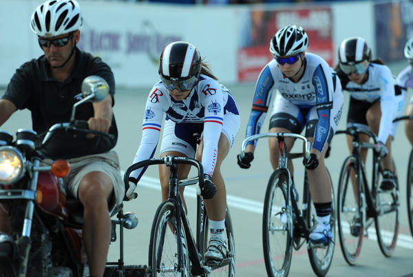 Melissa Garia of Bethlehem drops in behind the motorcycle leading the Junior Women 16-18 Keirin Finals on day 4 of Junior Nationals at Valley Preferred Cycling Center in Trexlertown.