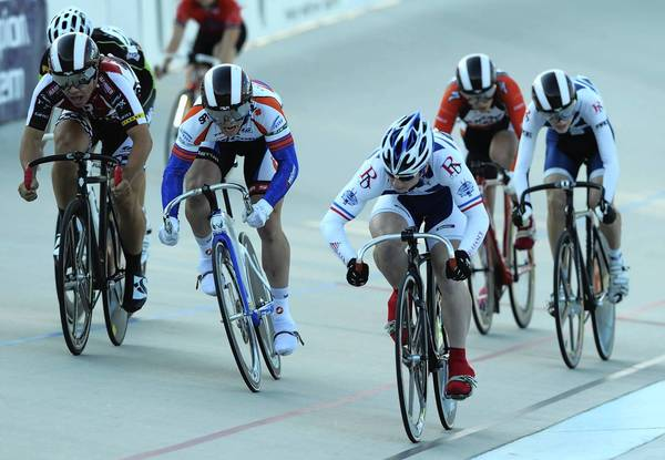 Calan Farley of Pittstown, NJ (center) took first place in the Junior Mens 16-18 Keirin Finals Saturday during day 4 of Junior Nationals at Valley preferred Cycling Center in Trexlertown, Saturday July 14, 2012.