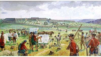 In 1758, General John Forbes led several thousand British and provincial troops through the wilderness of Pennsylvania in an attempt to take Fort Duquesne from the French. This painting illustrates his encampment at Fort Ligonier, about 50 miles from his final destination.