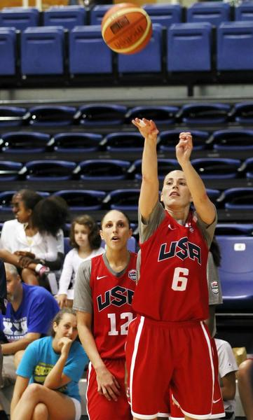 United States guard Sue Bird (6) shoots the ball during USA women's team training at Bender Arena on the campus of American University.