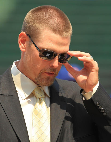 Kerry Wood during his farewell address to the media on May 19.