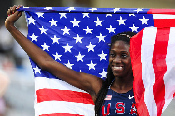 Ashley Spencer after her world junior title in the 400 meters.