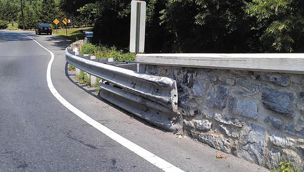 A reader wrote to say the end of a guardrail on the Funkstown bridge over Antietam Creek is missing bolts, which he attributed to vehicles hitting the guardrail.