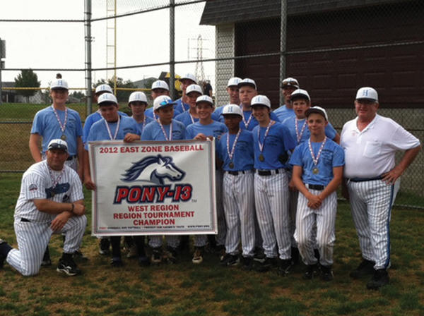 The Hagerstown Pony League 13A All-Stars will compete this weekend in the East Zone tournament in Cranberry Township, Pa. Hagerstown will play on Friday at 3 p.m. against the North Region in the five-team, double-elimination tournament. Hagerstown went 3-0 to win last week¿s West Regional in Boardman, Ohio. The winner of the East Zone tourament will earn a berth in the PONY League World Series on July 27 in Fullerton, Calif. Pictured in the front row, left to right: Matt Harsh, Jake Arnone, Bryce Scharenbroch, Miles Nicholson, Brooks Keller, Taylor Kerns, business manager Russ Robinson. Back row: Reid Wallach, Brandon Gooden, J.P. Melby, Levi Taylor, Mitchell Wilson, Bryce Ruppenthal, Ryan Downes, Gage Kyler, Isaac Schlotterbeck, coach Chris Schlotterbeck. Kneeling: Manager Dave Barr.