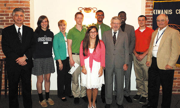 The Hagerstown Kiwanis Club presented scholarships to graduating high school seniors at its May 10 meeting. Front row, from left, Ariel Dick of North Hagerstown High School; and Donald Day, Kiwanis Club president. Second row, from left, Brian Tedrick, Kiwanis Club member and chairman of the scholarship committee; Elizabeth Eich of St. Maria Goretti High School; Kitty Dayhoff-Fischel, scholarship co-sponsor; Bryce Boyd of Heritage Academy; Umar Mahmood of South High; John Kitchen of South High; Robert Martin of Heritage Academy; and Michael Gardner, Kiwanis Club member.