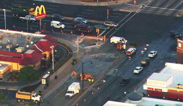 Crews on the site of a water main break on eastbound Cermak Road in Berwyn this morning.