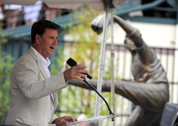 Orioles Hall-of-Fame pitcher Jim Palmer speaks after a sculpture in his honor was unveiled at Camden Yards.