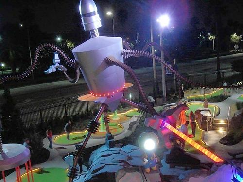 The Invaders From Planet Putt course features space-age robots and little green men at the Hollywood Drive-In Golf attraction at Universal CityWalk.
