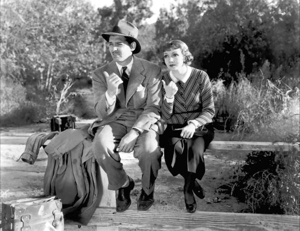 "Clark Gable and Claudette Colbert in ""It Happened One Night""at the Wadsworth Atheneum."