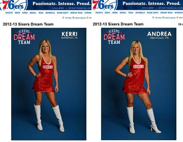 "Screenshots from the sixers.com Website of two local members of the Sixers Dream Team, ""Kerri"" from Bethlehem (left) and ""Andrea"" from Allentown (right)."