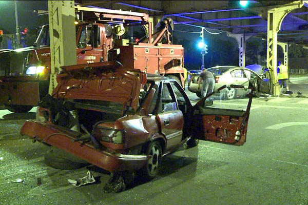 Two of the vehicles involved in a crash that hurt four people on the West Side this morning.