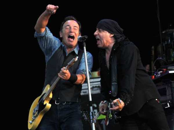 Bruce Springsteen, left, and guitarist Steve Van Zandt perform during Saturday's Hard Rock Calling Festival in London's Hyde Park, were concert officials pulled the plug after Springsteen broke curfew.