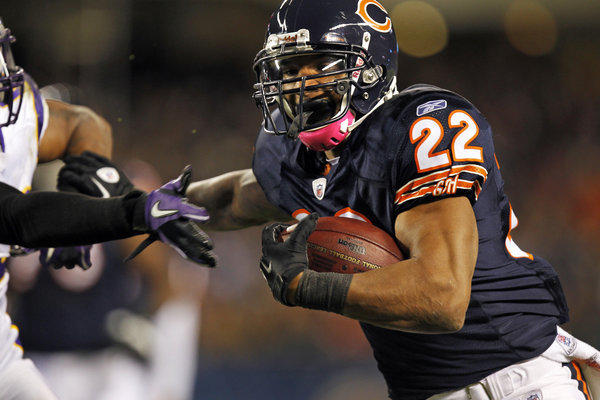 Chicago Bears running back Matt Forte (22) runs in the first quarter against the Minnesota Vikings at Soldier Field in Chicago.