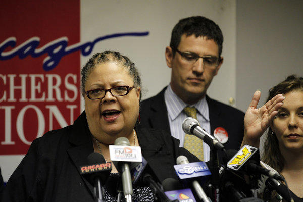 Chicago Teachers Union (CTU) president Karen Lewis addresses reporters at the CTU headquarters at the Merchandise Mart in Chicago on Monday. The CTU revealed nearly 90 percent of it eligible members voted to give their labor organization the authority to call a strike should contract negotiations reach an impasse, according to their press release.