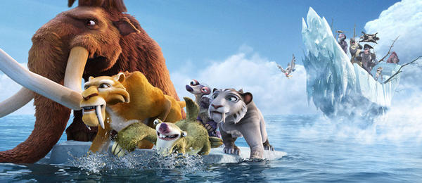 "This image released by 20th Century Fox shows characters, from left, Manny, voiced by Ray Romano, Diego, voiced by Denis Leary, Sid, voiced byJohn Leguizamo, Granny, voiced by Wanda Sykes and Shira, voiced by Jennifer Lopez in a scene from the animated film, ""Ice Age: Continental Drift."