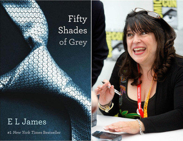 "E.L. James, author of the erotic bestseller ""50 Shades of Grey,"" signs books at Comic-Con in San Diego."