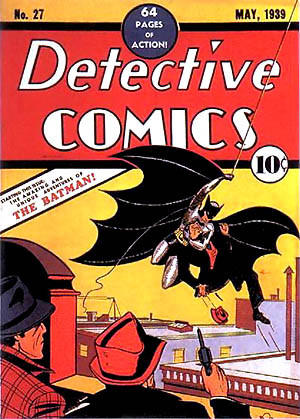 This is the cover of the original Batman--the Dark Knight's first appearance in a comic. But he looks more like Spiderman swinging from that rope. It's from 1939, so I guess he had some growing up to do.