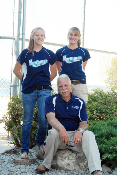 Petoskey High School varsity softball coach Dave Serafini (front) along with recent graduates Kristen Espinoza (left) and Tori Thompson will all partake in the Michigan High School Softball Coaches Association Division II All-Star Game on Wednesday, July 18, at Michigan State University.