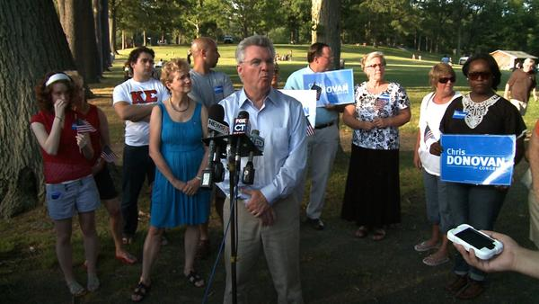 Fifth District congressional candidate Chris Donovan addresses the media on July 6 at Hubbard Park in Meriden.