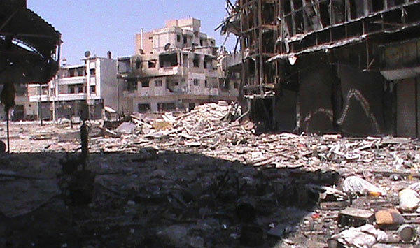 Damaged buildings in Homs.