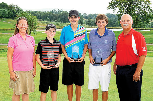 The Tri-State Junior Golf Association made its second stop of the season on Monday at Black Rock Country Club. Left to right are sponsor Susan Reeder of One Love Fellowship, age 12-13 winner Noah Reeder, Max Bell (14-15), Adam Poulson (16-18) and Black Rock Director of Golf Darrell Whittington.