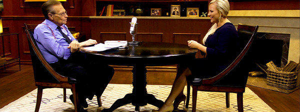 "Larry King interviews Meghan McCain for an episode of ""Larry King Now"" which debuts on Hulu this week."