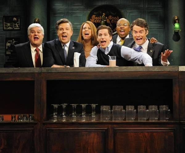 "Bobby Moynihan, left, Jason Sudeikis, Kristen Wiig, Andy Samberg, Kenan Thompson and Bill Hader deliver the goods on a ""Saturday Night Live"" episode."
