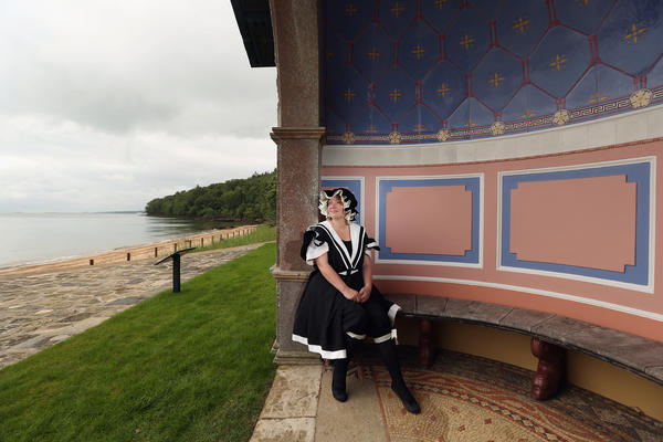 Elspeth Moore, dressed in a Victorian bathing suit, admires The Queen's Alcove on Osborne Bay, Queen Victoria's private beach at Osborne House on the Isle of Wight, which which will open to the public for the first time ever later this month