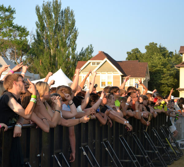 The crowd at Rockfest on Friday was extremely excited, raising their hands and screaming lyrics as they pressed against the barricades.