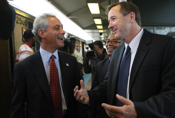 Mayor Rahm Emanuel and CTA President Forrest Claypool in July 2011.
