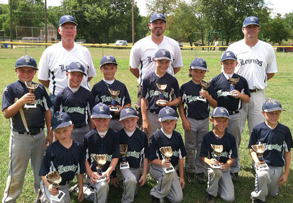 The Clark County 8U Legends recently placed second in back to back tournaments ¿ the Battle of Jackson Tournament in Jackson July 7-8, and the Paris Little Hounds Classic in Paris on July 14-15. Team members include, front row from left, Nate Ware, Cole Ginter, Kobie Banks, Colby Barker, Devlin Gray and Kennon Martin; second row, Andrew Cain, Chase Puckett, Nick Thibodeau, Elijah Hammond, Spencer Stocker and Cole Allen; back row, coaches Larry Puckett , Matt Ginter and Tad Cain.