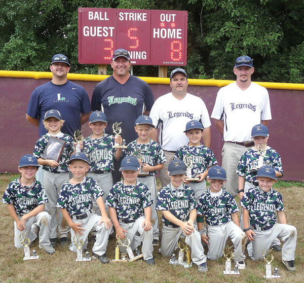 The Legends 6U Tee Ball team, right photo, won the Bourbon County Blast Tournament this past weekend, going 4-0. Members of the team are, front row from left, J.P. Gaines, Charlie Castle, Caden Spicer, Caden Matthews, Kamden McAlpin and Carter Maynard; middle row, Brady Davis, Hayden Heath, Kyle Nickell, Jacob Settles and Caleb Harrison; back row, coaches Brett McAlpin, Kenny Davis, Scotty Spicer and Lewis Davis. Not pictured is player Hagen Preston and coaches Mike Heath, Ken Davis and Burt Spicer.
