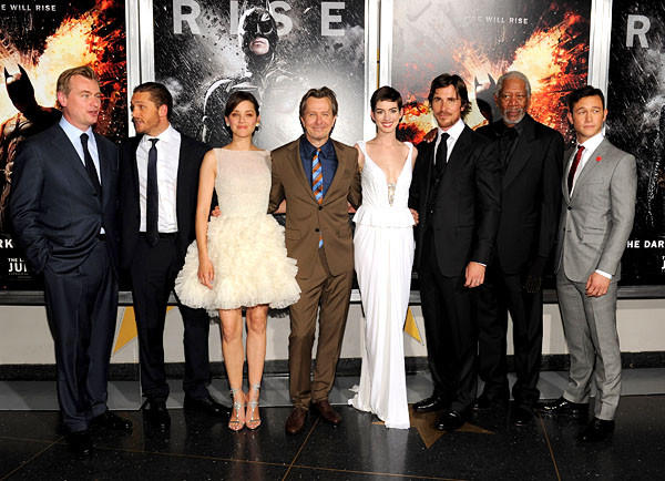 "The stars came out as the long-anticipated ""The Dark Knight Rises"" finally emerged and had its Gotham, er, New York, premiere. Christopher Nolan, Tom Hardy, Marion Cotillard, Gary Oldman, Anne Hathaway, Christian Bale, Morgan Freeman and Joseph Gordon-Levitt pose together at AMC Lincoln Square Theater. <style type=""text/css"">
