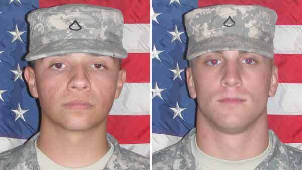 Spc. Sergio Eduardo Perez of Crown Point, Ind., and Spc. Nicholas Andrew Taylor of Berne, Ind. (from left)