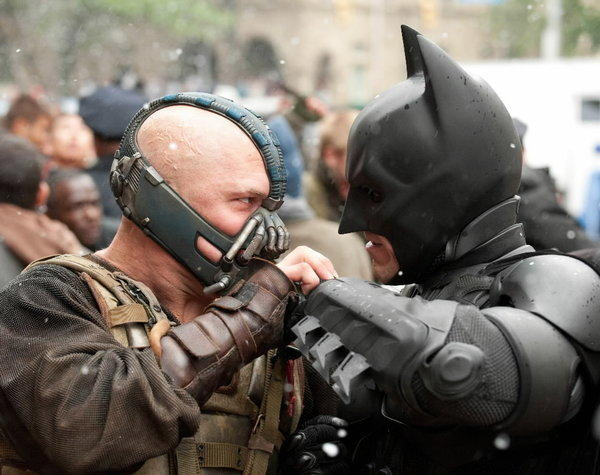 "Batman (Christian Bale) battles Bane (Tom Hardy) in a scene from ""Dark Knight Rises."""