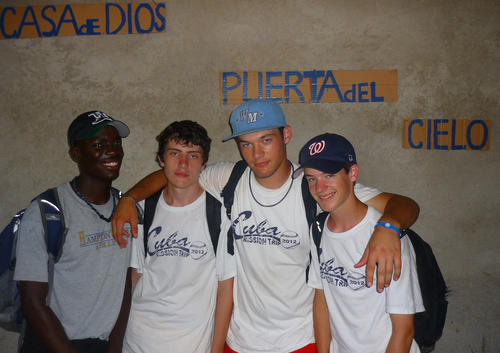 Hampton Christian players in Cuba. From left: Christian Coles, Cole Ragnar, Austin Fields, Garrett Fields.