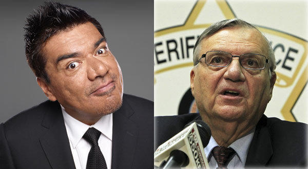 "Arizona Sheriff Joe Arpaio, right, is daring comedian George Lopez to meet him ""face to face."""