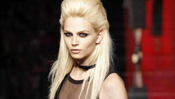 Male model Andrej Pejic presents a creation by French designer Jean Paul Gaultier as part of his Haute Couture Fall/Winter 2012-2013 fashion show in Paris July 4.