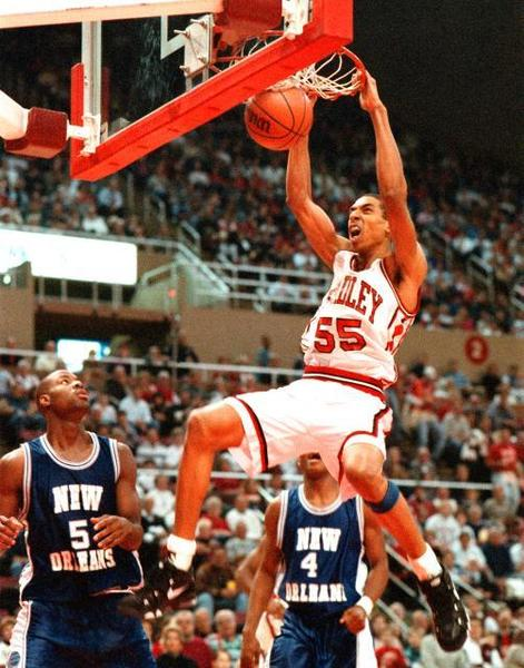 Adebayo Akinkunle making a two hand dunk in this undated photo.