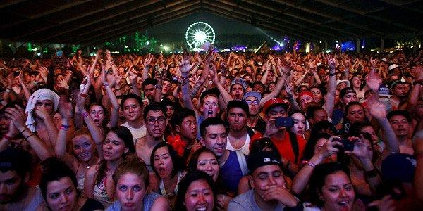 Fans wait for Frank Ocean to perform in the Gobi tent, on the first day of week two of the Coachella Valley Music and Arts Festival 2012.