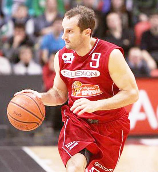 Former Petoskey High School great Trevor Huffman works the ball up the court during a game last season for Spirou Charleroi, his Euroleague team. Huffman has signed a two-year contract with a team in France as he enters his 11th year of professional basketball.