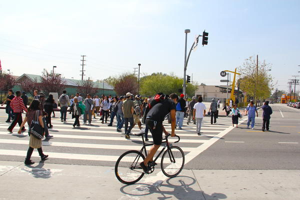 The crosswalk between the Metro Orange Line and the Red Line. Plans for an underground tunnel are underway.