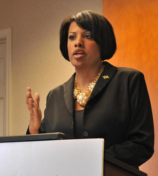 Mayor Stephanie Rawlings-Blake speaks to representatives of local foundations at The Association of Baltimore Area Grantmakers Tuesday morning.