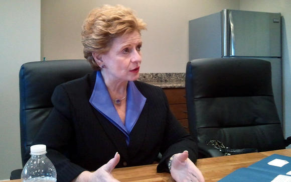 Sen. Debbie Stabenow, D-Mich., talks with the News-Review editorial board Friday.