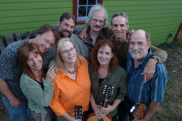 Yellow Room Gang, (back row) Jim Bizer, Matt Watroba, David Tamulevich, David Barrett, Michael Hough; (front row) Annie Capps, Jan Krist and Kitty Donohoe, will perform at Aten Place Saturday, July 21, in Boyne Falls.