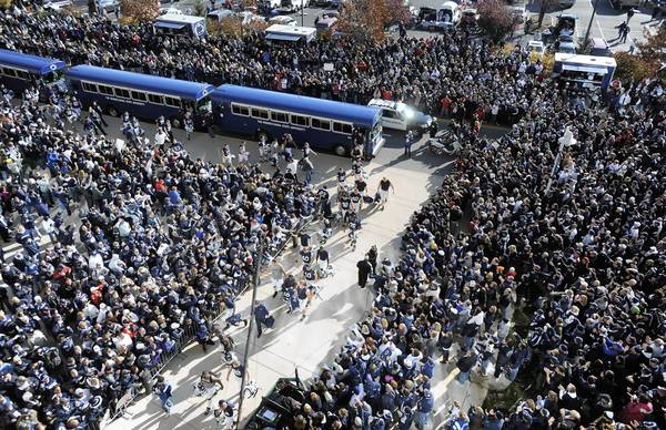 Penn State players arrive to Beaver Stadium for the Nov. 12 game against Nebraska.