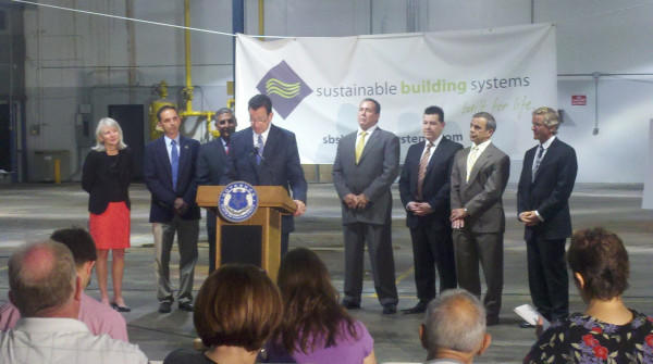 Gov. Malloy announces that Sustainable Building Systems will bring over 400 new jobs to North Haven.