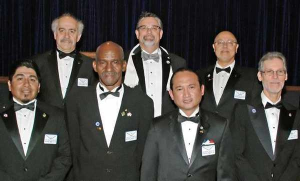 Among the Burbank Masons who participated in the Table Lodge were, from left, Thomas Quiroz, Peter Babaian, Leon Adkins, Billy Campbell, Jeremy Chongco, Erik Adams and James Laage.