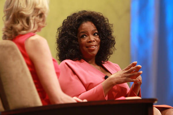 Paula Zahn interviews Oprah Winfrey about her new Oprah Winfrey Network (OWN) in  2011 on stage at The Cable Show 2011, a cable television convention sponsored by the National Cable & Telecommunication Association, at McCormick Place.